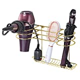 styling tools organizer - mDesign Bathroom Wall Mount Metal Hair Care & Styling Tool Organizer Storage Basket for Hair Dryer, Flat Iron, Curling Wand, Hair Straighteners, Brushes - Steel Wire - Soft Brass