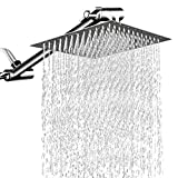 【RAIN SHOWER HEAD】: 12'' Large Stainless Steel Square Rainfall Showerhead. Waterfall Full Body Coverage, Stainless Steel Construction, Corrosion Resistant and Highly Durable. LUXURY SHOWER DESIGN, it must be a beautiful decoration for your bathroom 【...