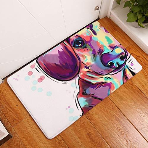 Nunbee Designer Paillasson Tapis de Sol antidérapant extérieur d'entrée Interieur Fibre de Coco Geek Noël Chat Chouette cerf Enfant Multicolore, Chien 13 40 * 60cm