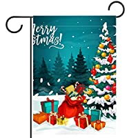 ガーデンフラッグ、屋外看板吊り飾り、クリスマスツリーサンタバッグ 、テラス鉢植えデッキ用28x40インチ