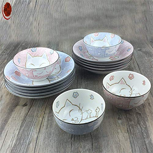 GAOFQ Tableware, Tools for Dining Ceramic Bowl Dish Plate Creative Cute Rice Dessert Cereal Bowl Set Pasta Plate Seasoning Miso Tableware Pink Lucky Cat Fish,13.2CM6.8CM Blue