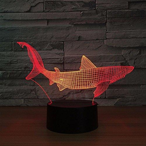 Neue Haifischfischenwerkzeuge innerhalb der Hellen Hellen Dekoration des Tabellenfischfamiliendekoration-Parteifarbänderungsnachtlichtschlaflichtes