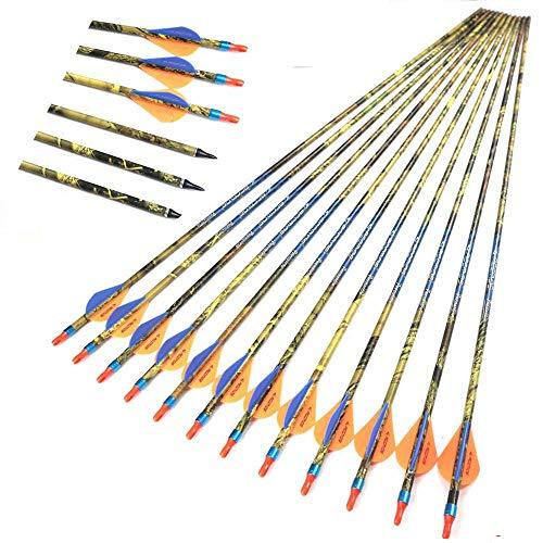 ACCMOS 12 PiezasTiro con Arco Flecha de Carbono Espinazo 300 350 400 500 ID 6,2 mm Flechas de Caza de Eje de Camuflaje Verde para Arco Compuesto Tiros (Spine 500)