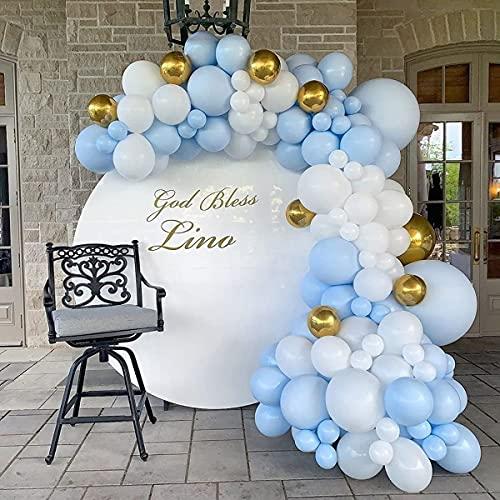 Kit Ghirlanda Palloncini, 129 Pezzi Kit Ghirlanda Palloncini Blu Macaron con Palloncini Foil Oro 4d, Bianca Palloncini per Ragazzo Compleanno Decorazione Festa Matrimonio Battesimo Bimbo