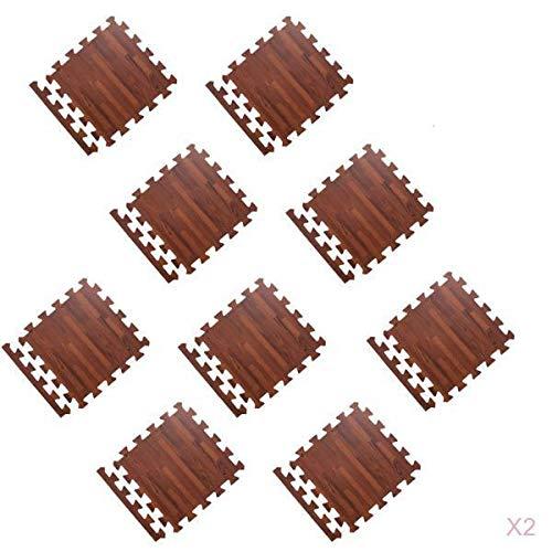 F Fityle Bodenschutzmatte Puzzlematten 30 x 30 cm, 18 teilig, Bodenmatte Puzzleteppich Spielmatte Schaumstoffmatten - Braun