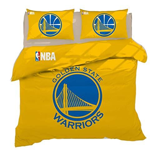 QWAS Golden State Warriors - Juego de cama (100% microfibra, 1,135 x 200 cm + 50 x 75 cm x 2)