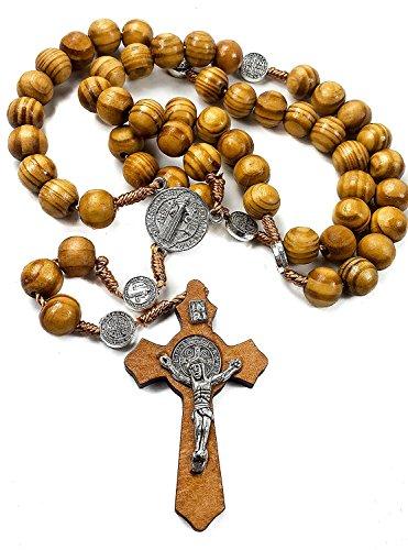 San Benito medalla de madera de olivo rosario Católica Nr hecha a man