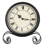 Biuzi Orologio, 1Pc Orologio Vintage con Staffa Rotonda Orologio da Tavolo Decorazione Ornamento Oggetti di Scena Puntello in Ferro Orologio retrò Rotondo Piccolo Seduto