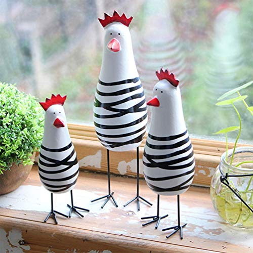 Amosfun 3PCS Wooden Chicken Figure Decor Cute Wood Carving Figurines Crafts for Home Office Decor Gift