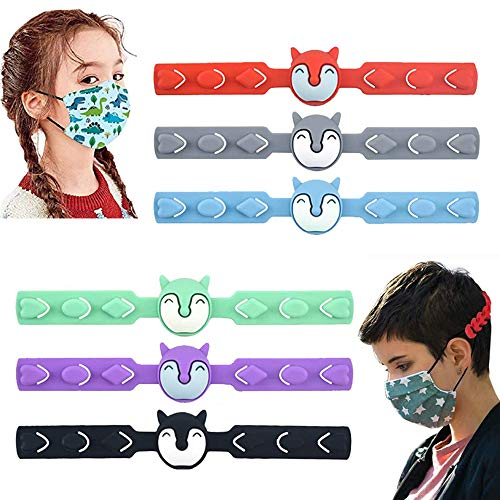 Kids Mask Strap Extender, 6PCS Child Mask Extension Hook, Cartoon Anti-Slip 3 Gear Adjustable Ear Buckle Ear Protector Holder for Relieving Ear Pressure and Pain (6 Pack)