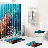 Alfombra de baño N/Z Ocean de tres piezas para baño, cocina, dormitorio, sala de estar, alfombra de eBay, Ocean 082, 45 x 75 cm, juego de tres piezas + 180 cm x 180 cm cortina de ducha