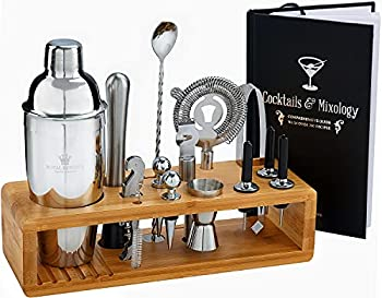 Cocktail Mixology Shaker Set by Royal Reserve - 16-Piece Bartender Set with an Elegant Bamboo Stand - Bar Accessories Kit including a Martini Shaker & Mixer Recipe Book – Gift for Men Husband Birthday