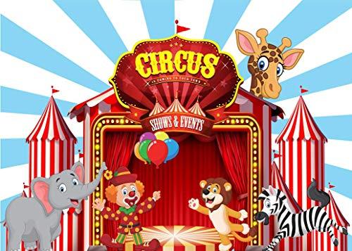 EdCott 7x5ft Zirkus Lion Zebra Fotografie Hintergrund Baby Geburtstag Cartoon Party Rot Blau Foto Hintergrund Niedlichen Tier Hintergrund Fotostudio Requisiten für Hauptdekorationen Tapete