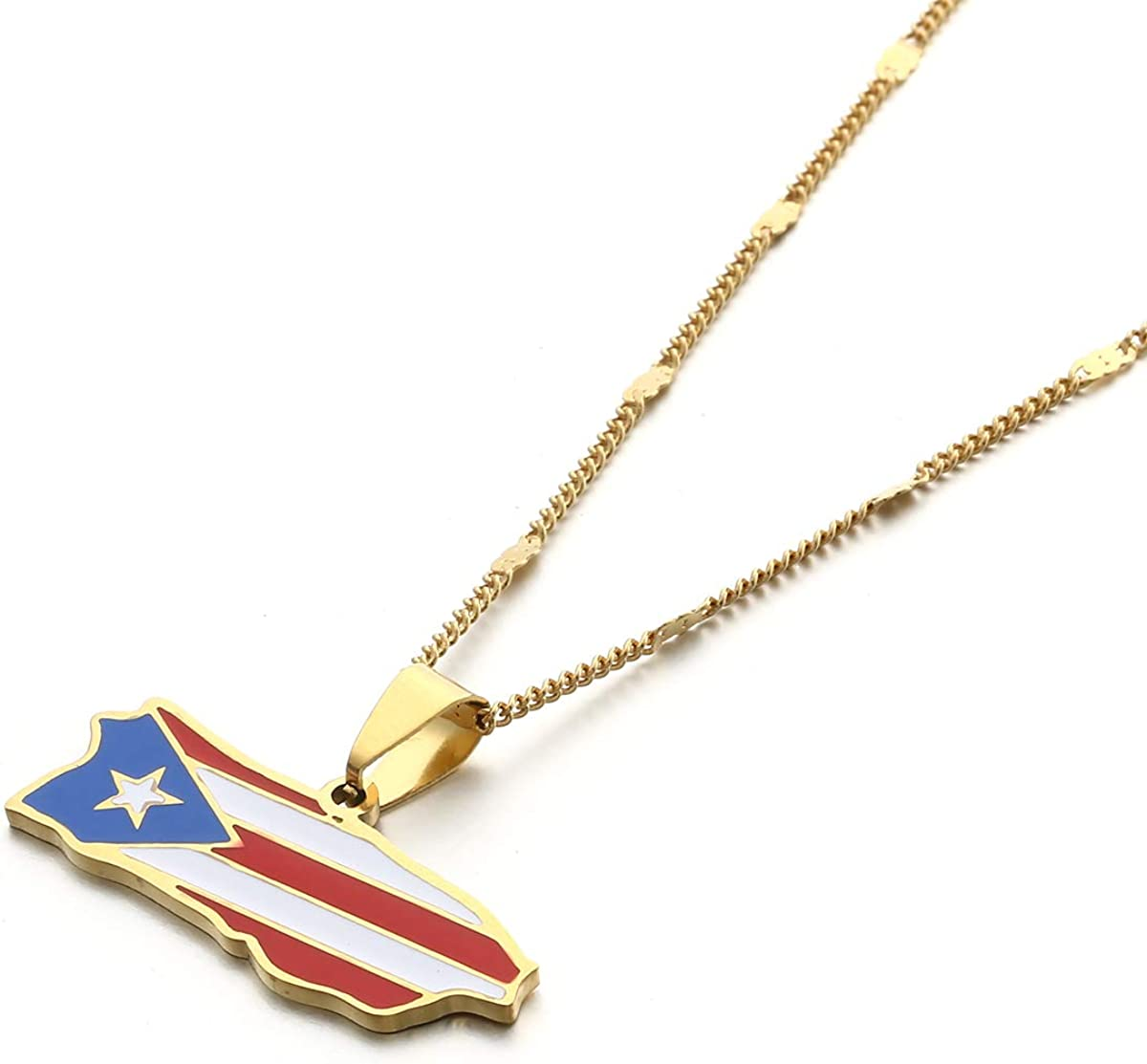 Stainless Steel Trendy Enamel Puerto Rico Map Pendant Chain for Women Puerto Ricans Map Charm Jewelry