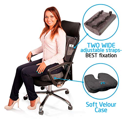 SOFTaCARE, Dark Gray Seat Cushion Coccyx Orthopedic Memory Foam and Lumbar Support Pillow, Set of 2, 2 Count
