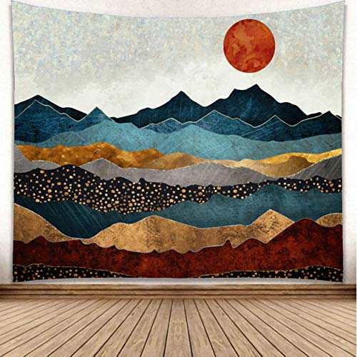 omnihabits Wandteppich, Wandtuch, Tapisserie, Tagesdecke, Wandbehang mit hoch detailliertem Druck (Sonnenaufgang, 180 x 230 cm)