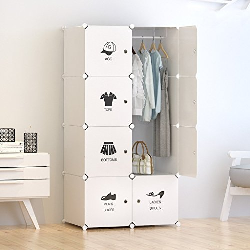 Tespo Portable Closet Clothes Wardrobe Organizer Plastic Organizer DIY Cube Bedroom...