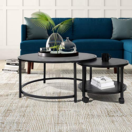CozyCasa Black Coffee Table Round Small Tea Table Nesting Tables...