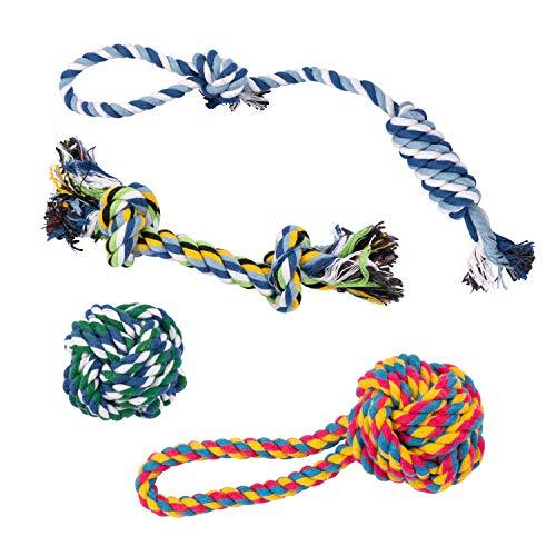 Vacker Design Puppy Hundespielzeug Kauseil zum Zahnen, Zerren und Spielen Seil für Welpen, 100% natürliche Baumwolle, für kleine Hunde