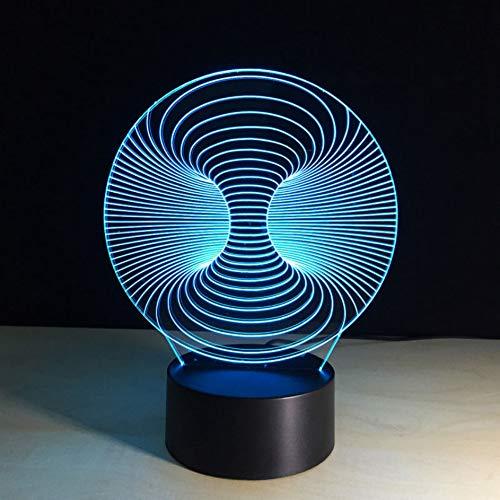 3D USB Schlafzimmer Nachttischlampen Tischlampe Touch Schalter Abstrakte Design Visuelle Concave Grafiken Nachtlicht Geschenke LED