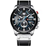 Mens Watches Luxury Chronograph Big Dial Male Watch Wrist Leather Waterproof Sport Army Military (Silver Black)