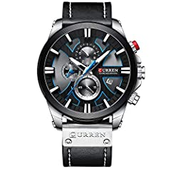 1.High quality japanese quartz movement with analog display, provide precise time keeping 2.Luxury & simple design, auto date 3.Waterproof:99FT / 30M Normal Water Resistant. Withstands wash hand , rain and splashes of water, but do not showering, div...