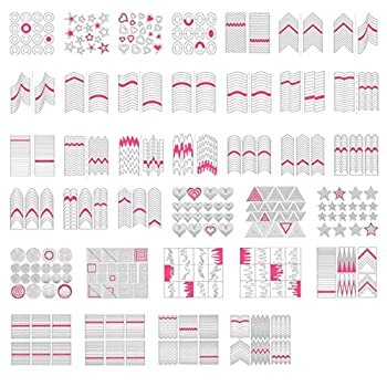 TailaiMei 1768 Pieces 60 Designs French Manicure Nail Stickers Nail Art Tips Guides for DIY Decoration Stencil Tools  36 Sheets