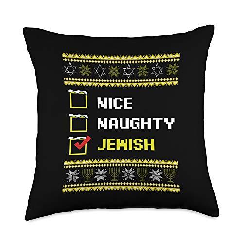 Best Gift Ideas Hanukkah Tee Nice Naughty Jewish Hanukkah Channukah Funny Gift Ideas Throw Pillow, 18x18, Multicolor