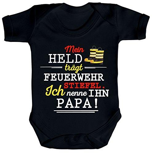 ShirtStreet Vatertag Feuerwehr Strampler Bio Baumwoll Baby Body kurzarm Papa - Mein Held trägt Feuerwehrstiefel, Größe: 0-3 Monate,Black