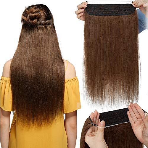 """TESS Haarteile Echthaar Extensions 1 Tresse Doppelt Dicke Draht komplette Haarverlängerung guenstig Haar Extensions Glatt 16""""(40cm)-90g #4 Mittelbraun"""