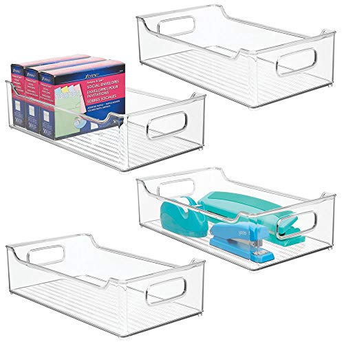mDesign Praktisk förvaringskorg för kontorsartiklar– förvaringskorg med handtag – förvaringslåda i plast – 4-pack – Klar