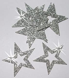 CrystalsRus 36 Silver Fabric Glitter 35mm Star Outline Iron-On Fabric Transfer