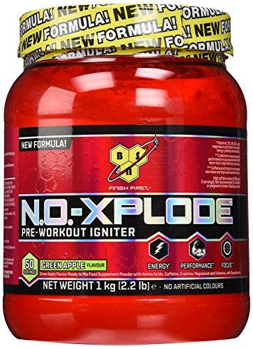 BSN N.O.-Xplode Pre Workout Pulver (Energy Booster mit Kreatin, Arginin, Beta Alanin, Koffein, Vitamin D und Vitamin B Komplex von BSN) green apple, 50 Portionen, 1kg