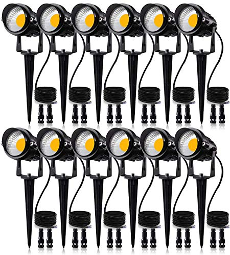 SUNVIE 12W Low Voltage LED Landscape Lights with Connectors, Outdoor 12V Super Warm White (900LM) Waterproof Garden Pathway Lights Wall Tree Flag Spotlights with Spike Stand (12 Pack with Connector)