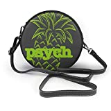 BAODANLA Bolso redondo mujer Women's Round Vegan Leather Crossbody Satchel Shoulder Bag Psych Pineapple Awesome Circle Tote Shopping Bag For Ladies Sling Bag