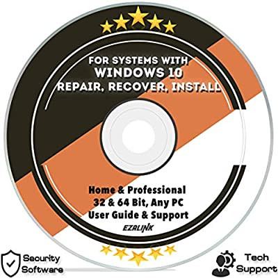 Ezalink Disc for Windows 10 Repair Recovery Install Restore Boot Fix DVD | 32 & 64 Bit Systems Home & Professional All Brands w/ AntiVirus and Support