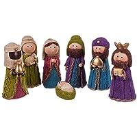 Belén de Navidad con Nacimiento y 7 Figuras Infantil de Resina de 12 cm - LOLAhome