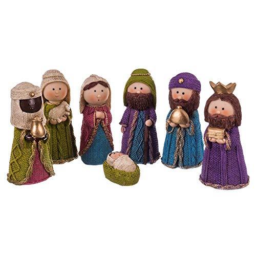 Belén de Navidad Nacimiento de 7 Figuras de Resina de 12 cm - LOLAhome