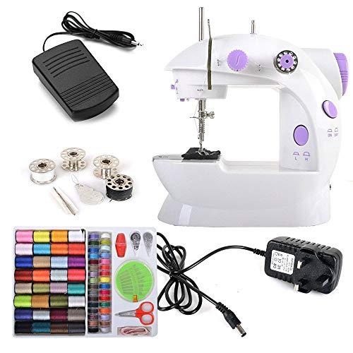 WYJW Rayin Blue 2 Speed LED elektrische hand-accu aangedreven mini stitch handheld + 4 x spoelen + voetbal + needle & threader + power adapter (UK plug) + 100-in-1 Nee