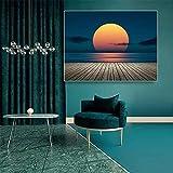 Cartel moderno del arte del paisaje de la puesta del sol, dibujo del paisaje de la ola del mar en la lona, pintura de la playa, cuadro del arte de la pared de la sala de estar, hogar