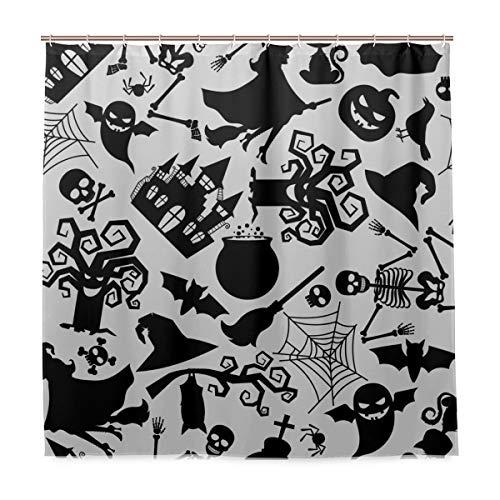 N/ A Waschbarer Badezimmer-Duschvorhang wasserdicht – Hexe Spinne Halloween Maschine Stoff Badvorhang mit Haken 183 x 183 cm