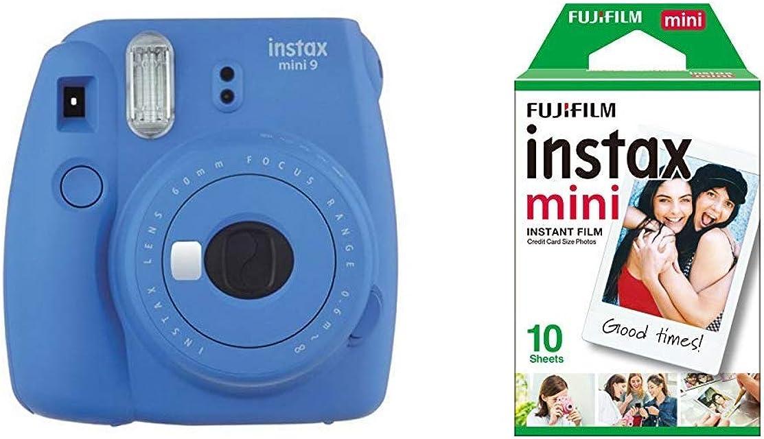 Fujifilm Instax Mini 9 - Cámara instantánea Cámara con 1x10 películas Azul Marino + Instax Mini Brillo - Pack de 10 películas fotográficas instantáneas (1 x 10 Hojas) Color Blanco