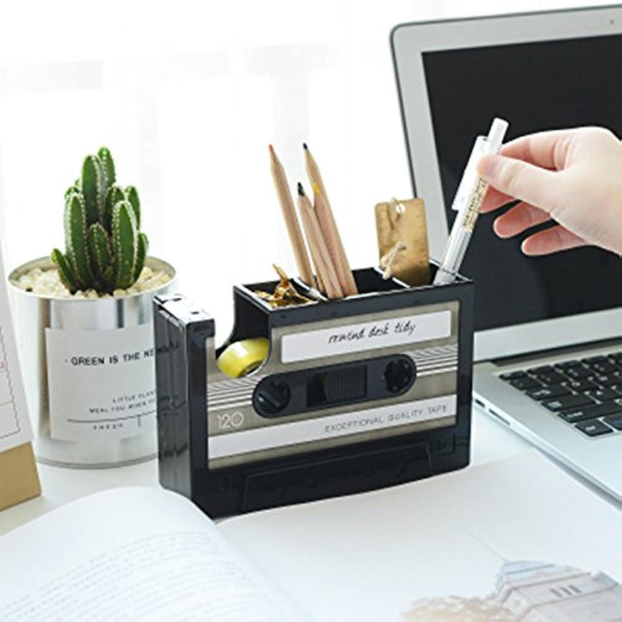 症状宗教精巧なCikuso レトロカセットペンホルダーデスクトップ収納カセットテープデスククリエイティブストレージペンホルダー(黒色)