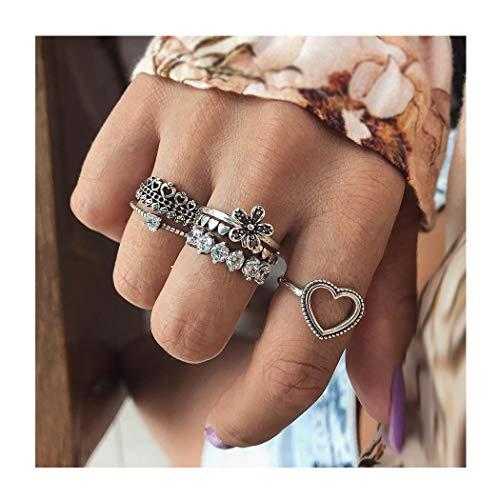 IYOU Vintage Edelsteen Ring Sets Zilver Kristal Knuckle Stapelen Ringen Boho Leaf hart Mid Ringen Sieraden voor Vrouwen en Meisjes(10st.)