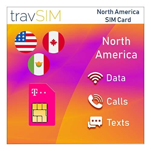 travSIM Prepaid T-Mobile SIM-Karte für USA, Kanada und Mexiko - 50 GB USA, 5 GB Kanada & Mexiko kombiniert - 3G 4G LTE Daten - Unbegrenzte lokale Anrufe & Texte für 21 Tage