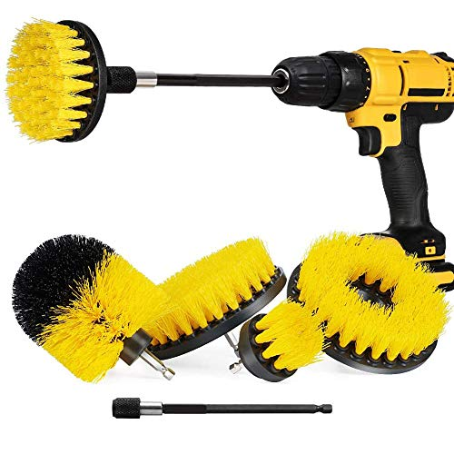 Drill Brush ,5 Pack Power Scrubber Cleaning Brush Extended Long Attachment Set All Purpose Drill Scrub Brushes Kit Time Saving Cleaning Kit for Grout, Floor, Tile, Bathroom and Kitchen Surface