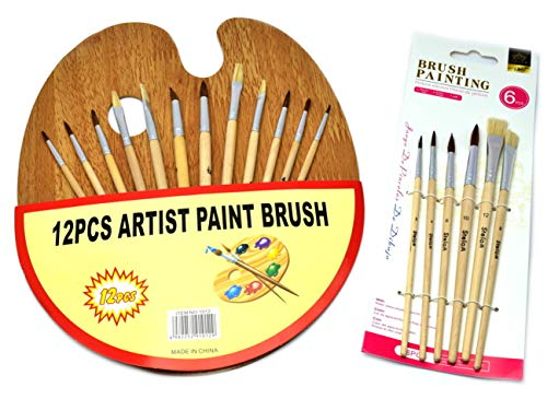 VENTURA TRADING Juego de Pinceles con Paleta de Madera 18 Pinceles y Paleta de Pintores Pintores Paleta de Artista Pincel de Pintura Pincel de Pintura Paleta