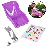 Ride Along Dolly Doll Bicycle Seat Bike Seat (Purple) with Decorate Yourself Decals (Fits American Girl and Stuffed Animals)