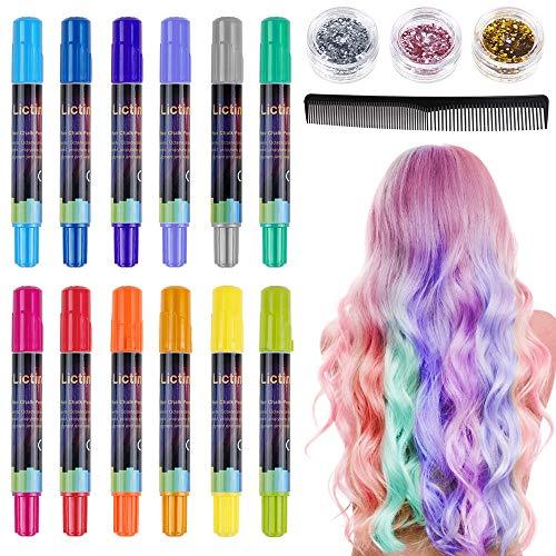 Lictin Tiza para el cabello Tintes capilares con tiza Para niños y niñas Pluma...