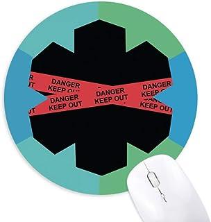 Alfombrilla para ratón con Logo de Red Danger Line Keep out, Redonda, de Goma, con Copo de Nieve Azul